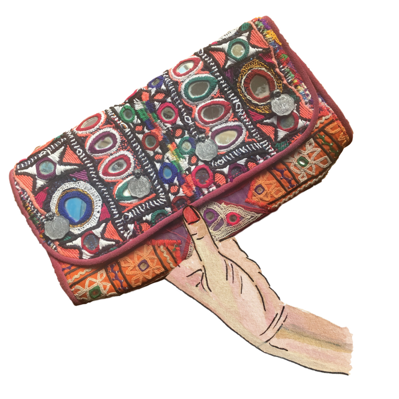 elle- leather clutch from nepal