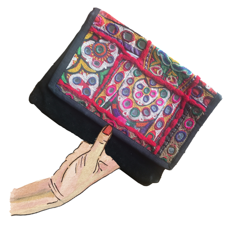 flora- leather clutch from nepal
