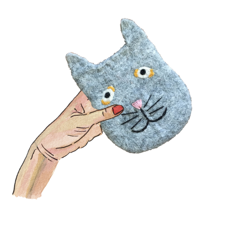 cat - felt pouch from nepal